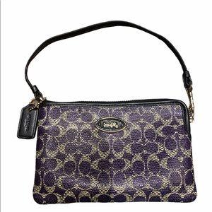 Coach Purple and Black Wristlet Wrist Wallet